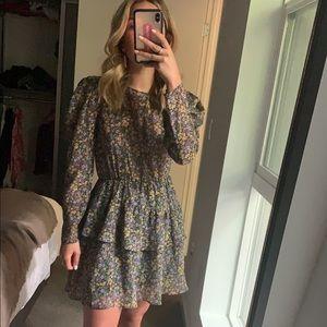Zara floral puff sleeve mini dress